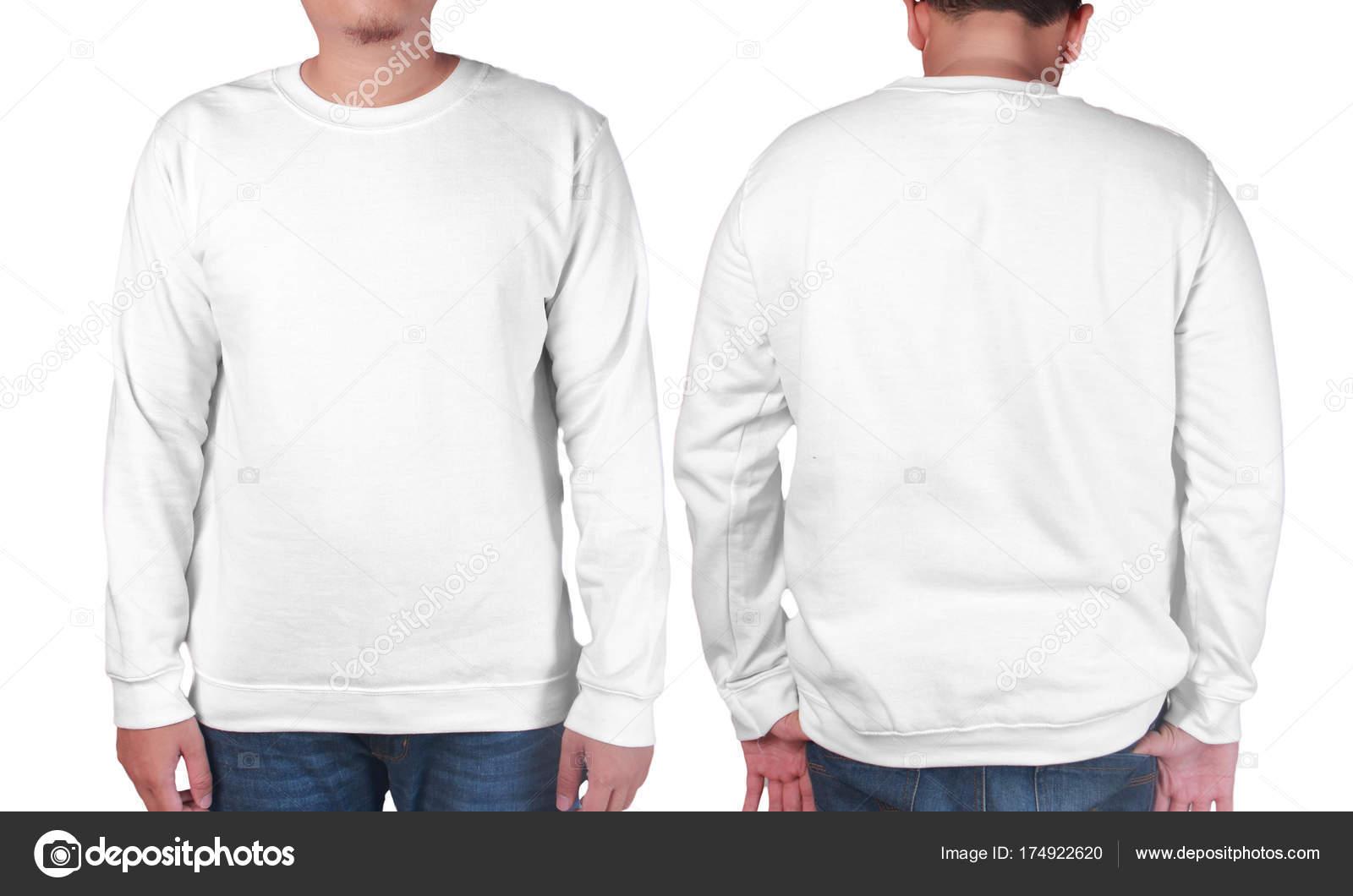 8360841113e4 Asian male model wear plain white long sleeved sweater shirt mockup. Sweat  clothes t-shirt jumper design presentation for print — Photo ...