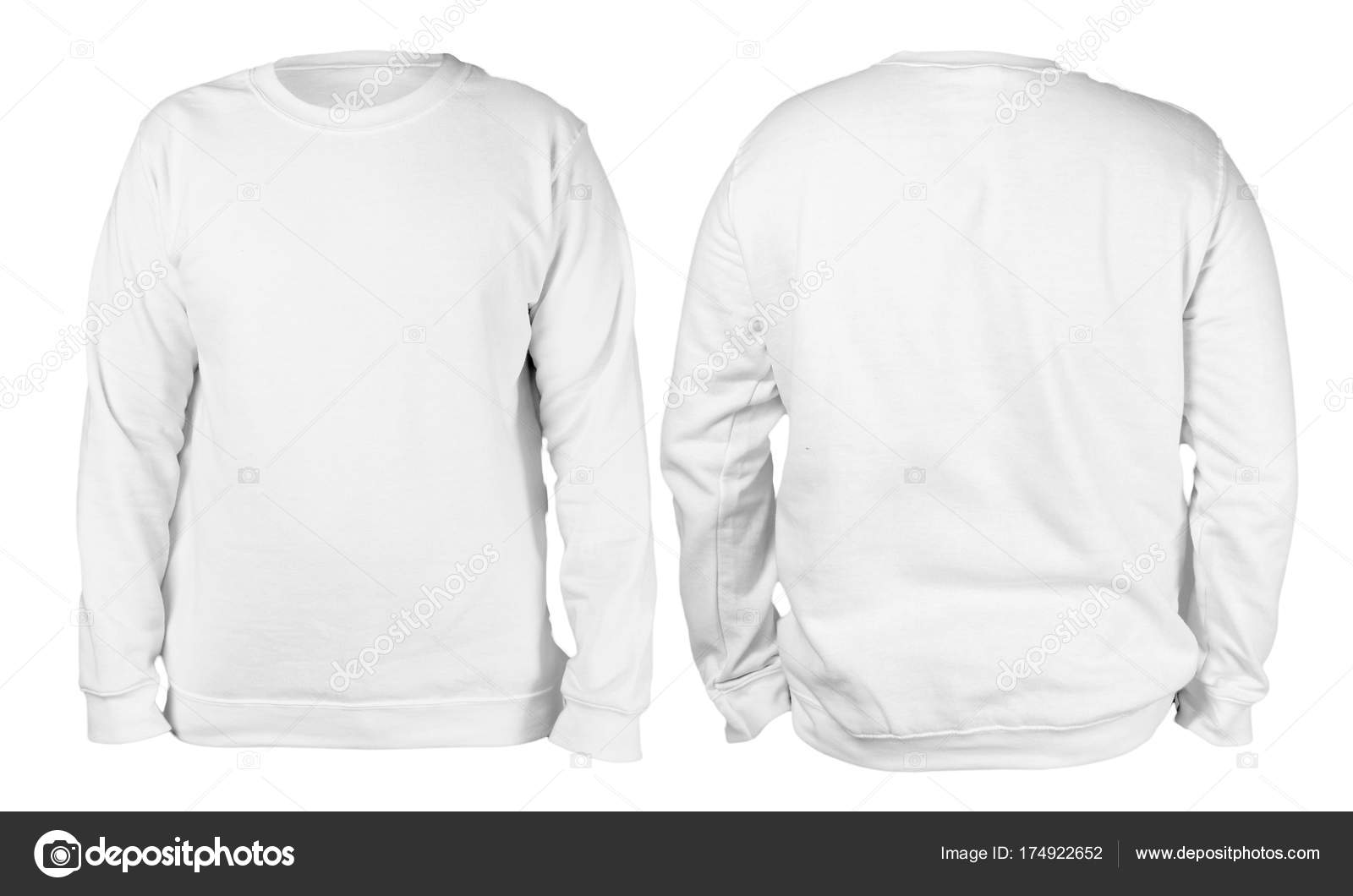 8612a628484b Blank sweatshirt mock up template, front, and back view, isolated, plain white  long sleeved sweater mockup. T-shirt design presentation. Jumper for print.