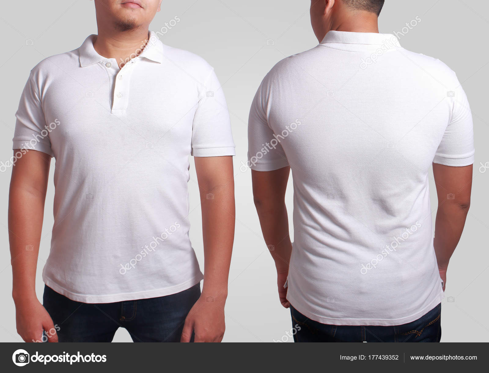 bfbd8748f Blank polo shirt mock up, front, and back view, isolated on grey. Asian  male model wear plain white tshirt mockup. Clothes uniform design  presentation for ...