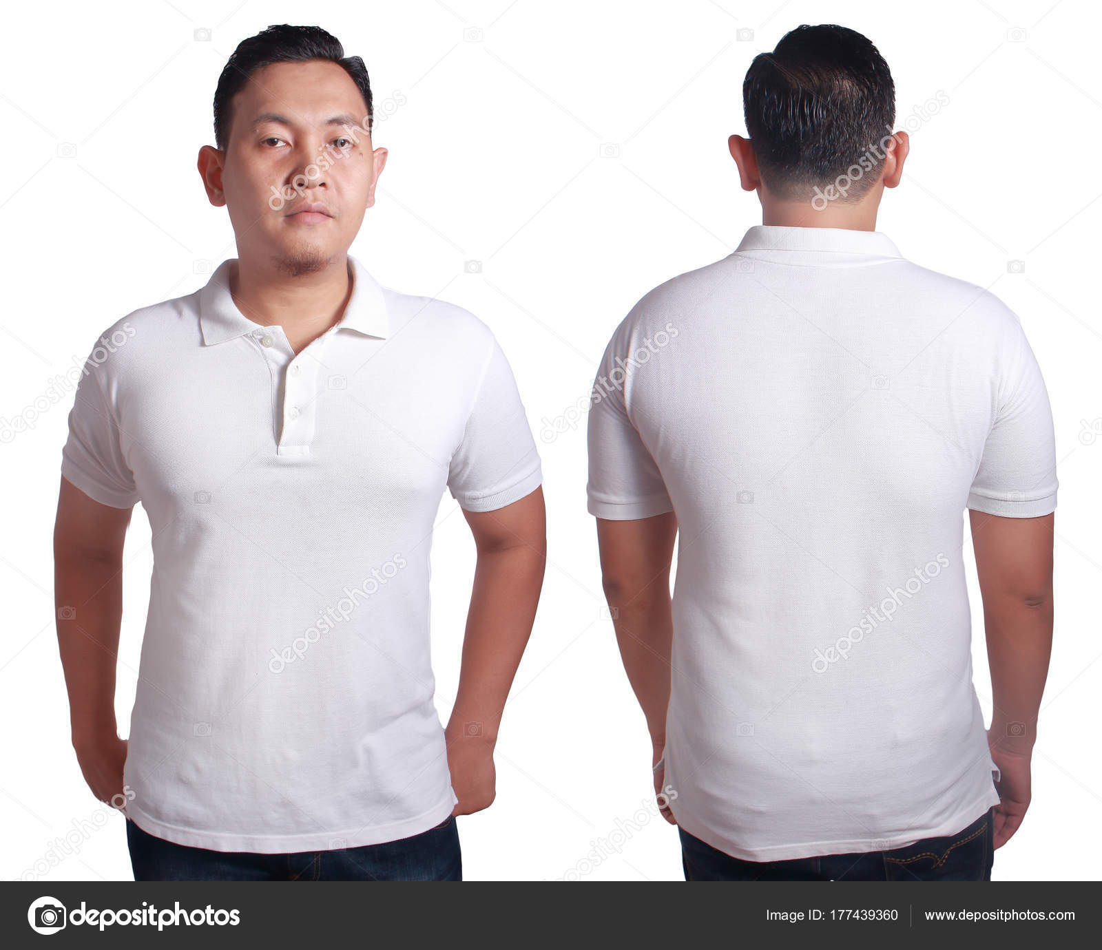 04c3032ce Blank polo shirt mock up, front, and back view, isolated on white. Asian  male model wear plain white tshirt mockup. Clothes uniform design  presentation for ...