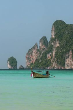 Longtail boat anchored at Ao Loh Dalum on Phi Phi Don Island, Kr