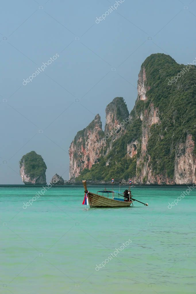Longtail boat anchored at Ao Loh Dalum on Phi Phi Don Island, Kr