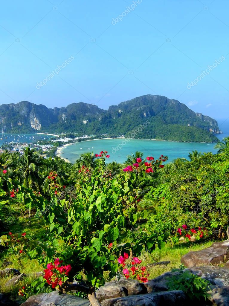 View of Phi Phi Don Island from an overlook, Krabi Province, Tha