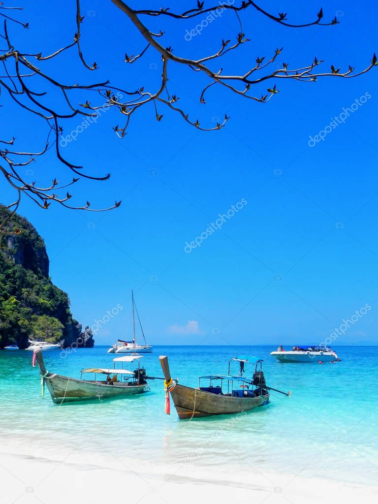 Longtail boats anchored at Ao Yongkasem beach on Phi Phi Don Isl