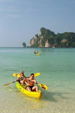KRABI, THAILAND - NOVEMBER 30: Unidentified people kayak at Ao L