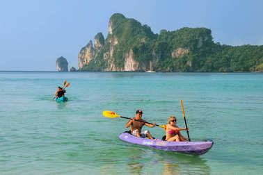 KRABI, THAILAND - DECEMBER 1: Unidentified people kayak at Ao Lo