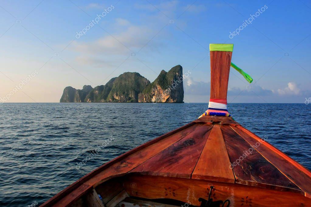Front of longtail boat going to Phi Phi Leh Island in Krabi Prov