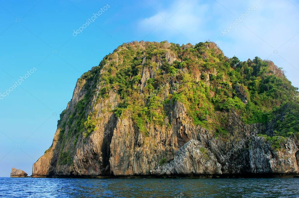 Ao Loh Dalum Bay surrounded by limestone formations on Phi Phi D