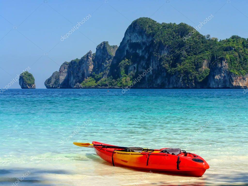 Colorful kayak at Ao Yongkasem beach on Phi Phi Don Island, Krab