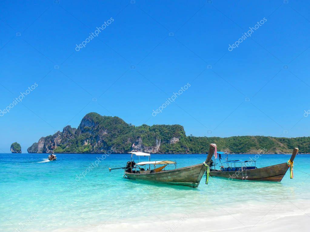 Longtail boats anchored at Ao Yongkasem beach on Phi Phi Don Isl
