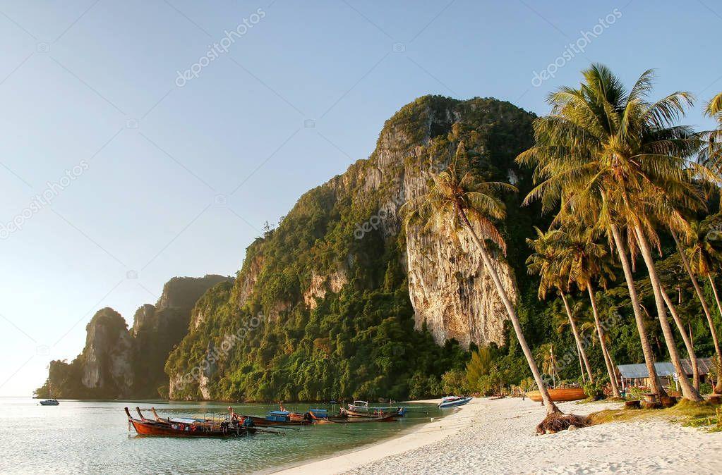 Ao Ton Sai beach on Phi Phi Don Island, Krabi Province, Thailand