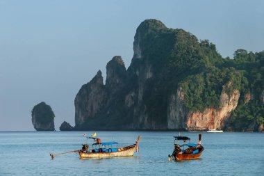 Longtail boats anchored at Ao Loh Dalum on Phi Phi Don Island, K