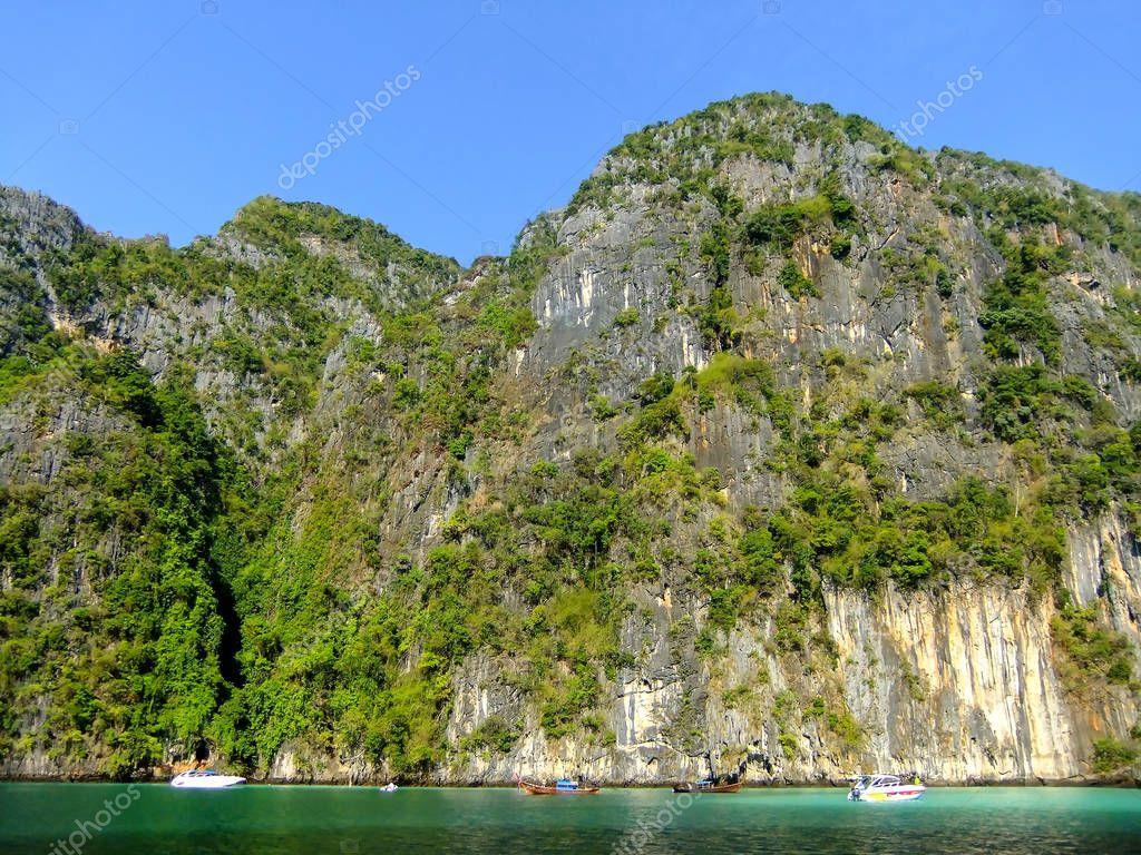 Limestone cliffs of Phi Phi Leh Island, Krabi Province, Thailand