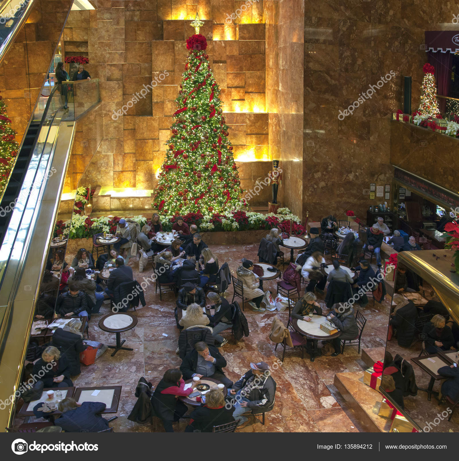 Cafe area at Christmas time Trump tower in NYC – Stock Editorial ...
