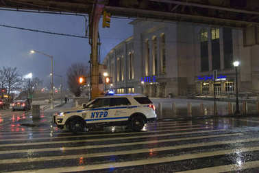 Police vehicle parked near Yankee Stadium in the Bronx New York