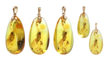 Amber jewelry pendant. Yellow transparent amber with inclusions and a beautiful shade. Natural Baltic amber. Isolated cut out image.