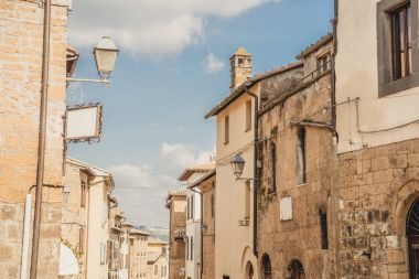 old buildings and clear blue sky in Orvieto, Rome suburb, Italy