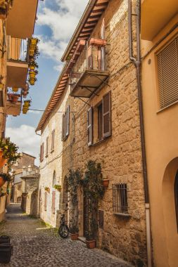 narrow street and buildings in Orvieto, Rome suburb, Italy