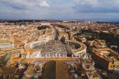 Fotografie aerial view of famous St. Peters square, Vatican, Italy