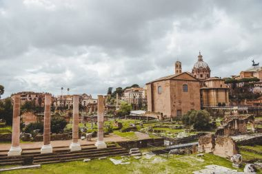 beautiful roman forum ruins on cloudy day, Rome, Italy