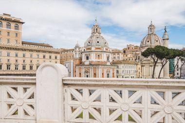 ROME, ITALY - 10 MARCH 2018: beautiful domes of Santa Maria di Loreto church seen from Altare della Patria (Altar of the Fatherland) at Rome