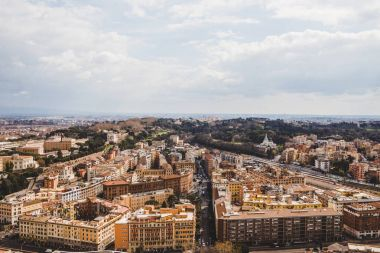 aerial view of beautiful roman buildings at Rome, Italy