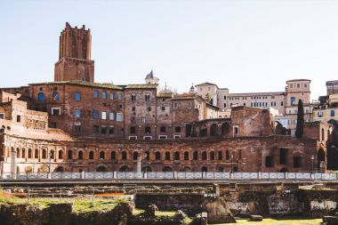 view on buildings from Roman Forum ruins in Rome, Italy