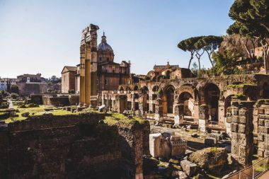 Saint Luca Martina church and arch at Roman Forum ruins in Rome, Italy