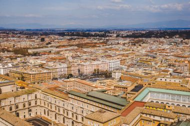 aerial view of streets and buildings in Rome, Italy