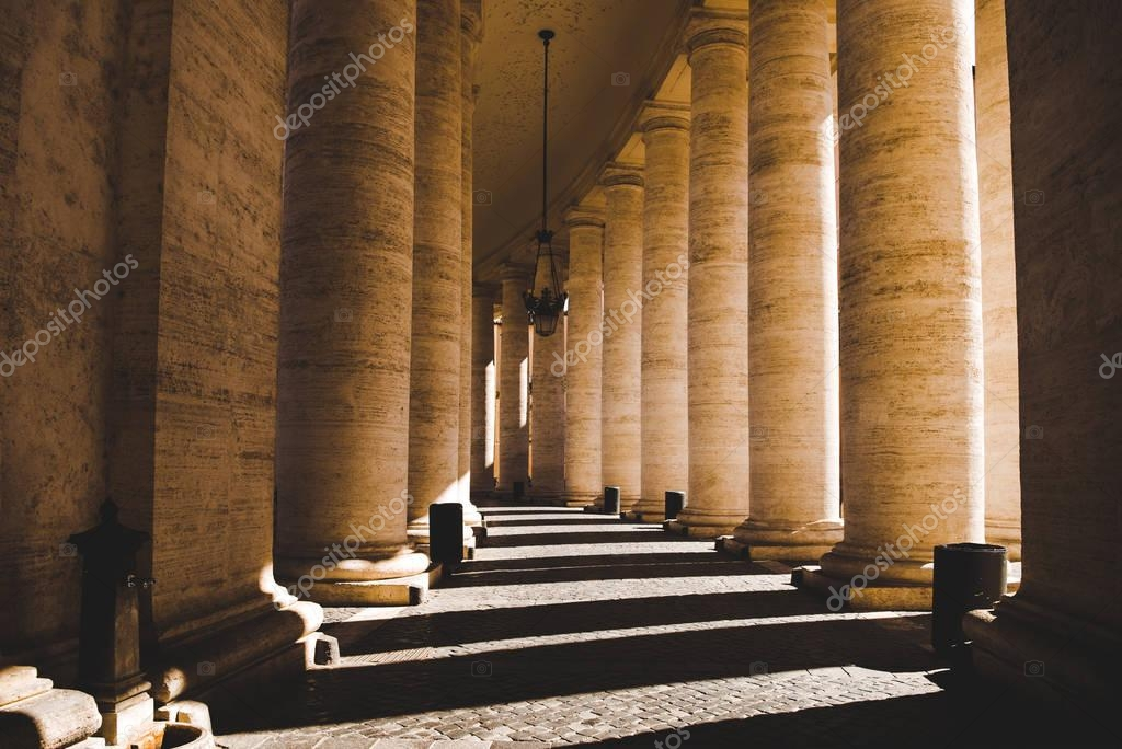 Beautiful columns with shadow in Vatican, Italy