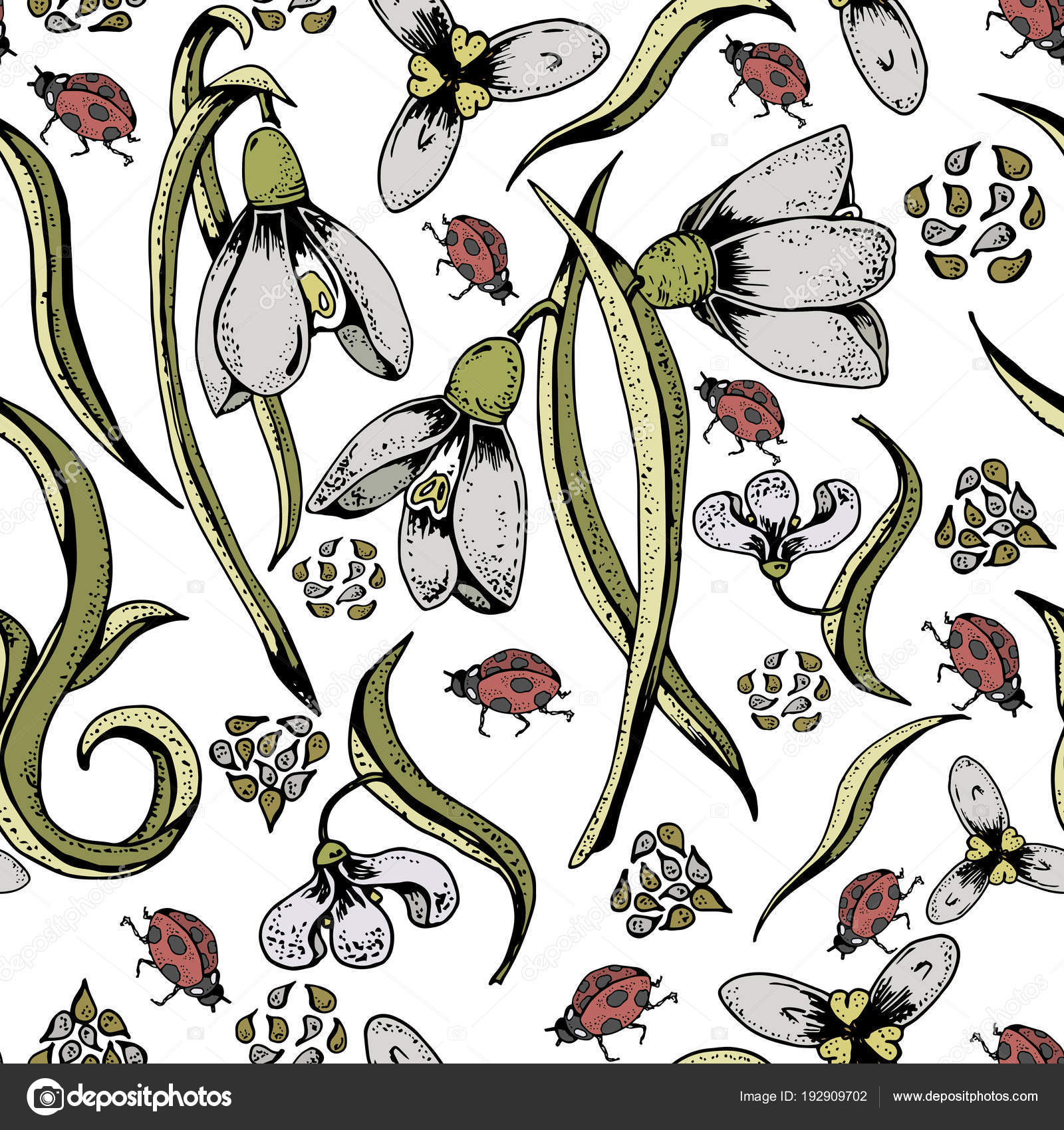 Colorful Seamless Pattern Snowdrops Seeds Ladybirds Traditional