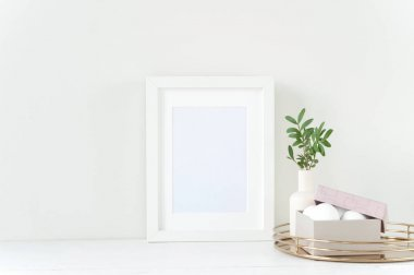 White frame mockup with Easter composition