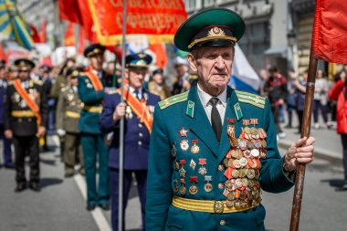 Moscow, Russia. WWII veterans on the city streets. Procession of veterans. Victory Day, May 9.