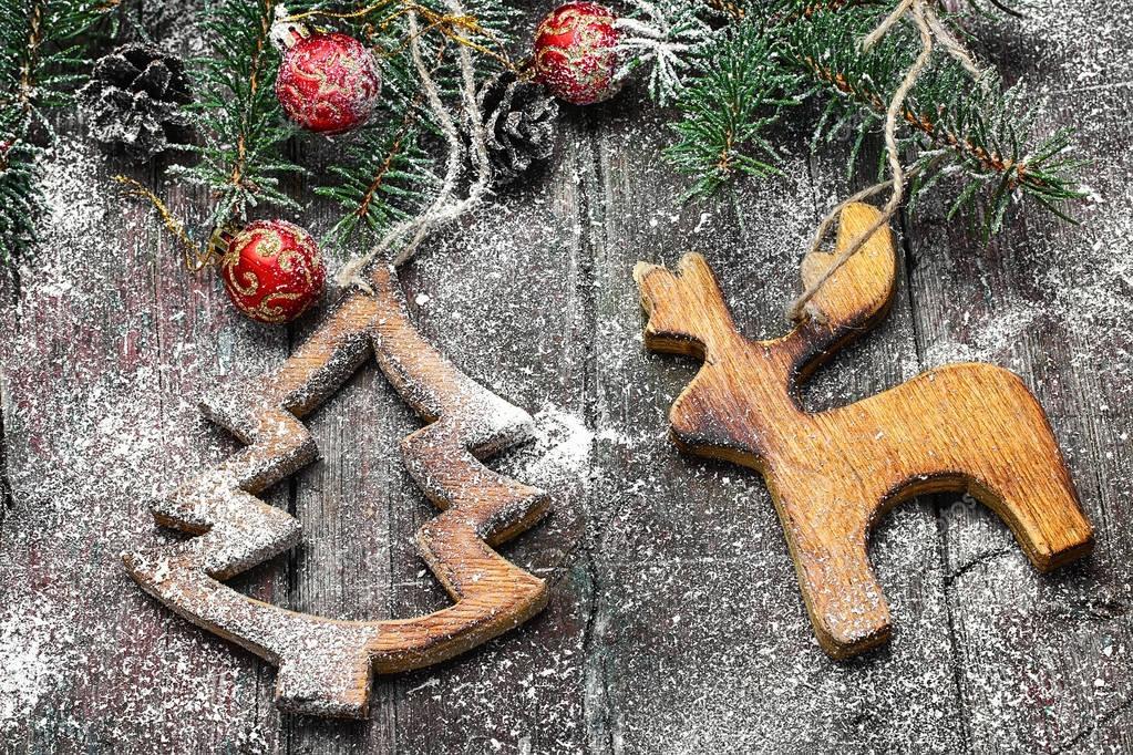 Homemade wooden Christmas ornaments — Stock Photo - Homemade Wooden Christmas Ornaments €� Stock Photo © Nikolay_Donetsk