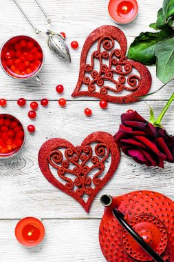 """Картина, постер, плакат, фотообои """"Утренний чай на день Валентина"""", артикул 134307706"""