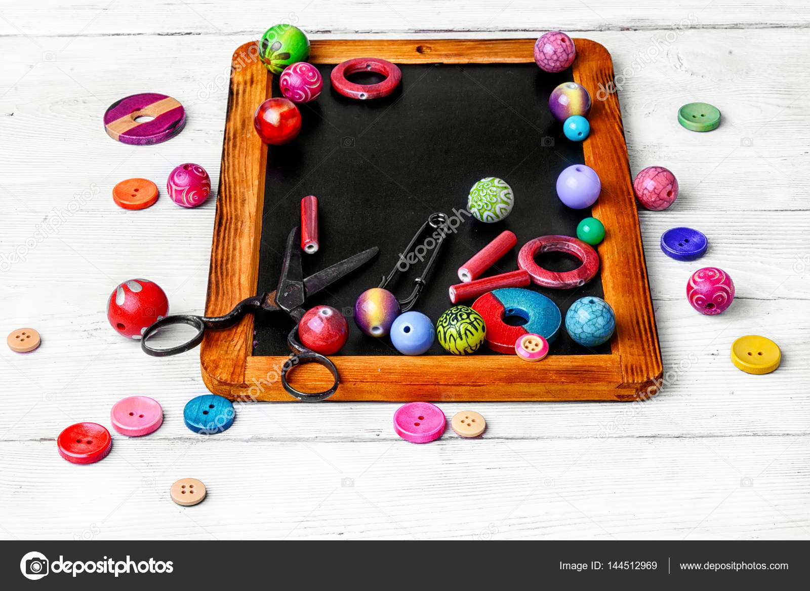Beads For Art On The Chalk Board Stock Photo NikolayDonetsk - Pool table chalk board