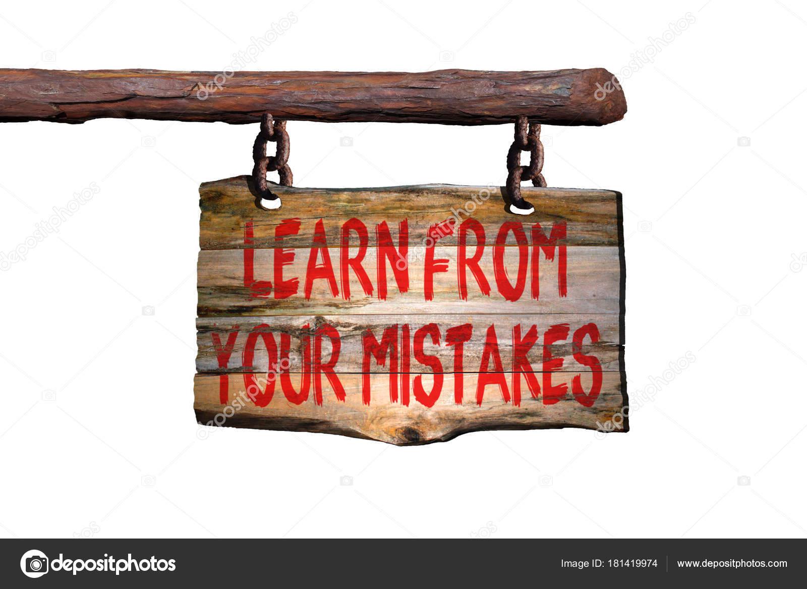 Aprender Com Seus Erros Frase Motivacional Sinal Stock Photo