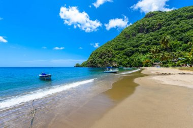 Paradise beach at Soufriere Bay with view to mountains in Saint Lucia, Tropical Caribbean Island.