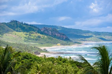 Mountains near beach of Bathsheba, East coast Barbados island, Caribbean.