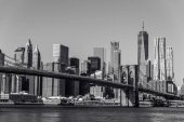 Černá a bílá panorama dolní Manhattan centrum, New York City, Usa