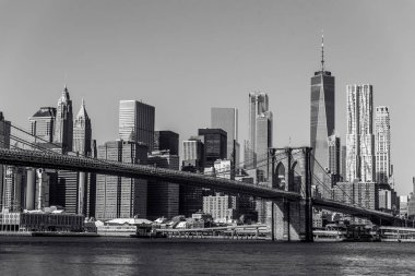 Black and white panorama of Lower Manhattan Downtown, New York City, USA