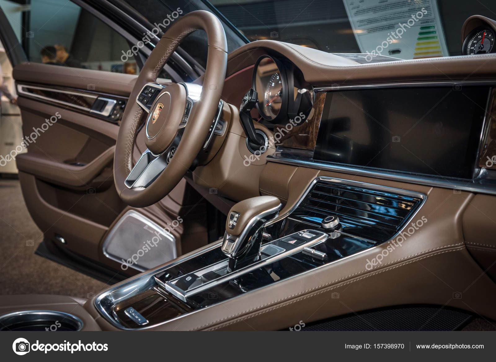 Interior Of The Full Size Luxury Car Porsche Panamera Turbo 2016 Stock