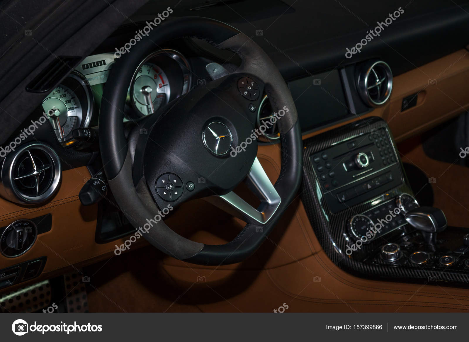 Interior of the sports car Mercedes-Benz SLS AMG Coupe, 2012 ...