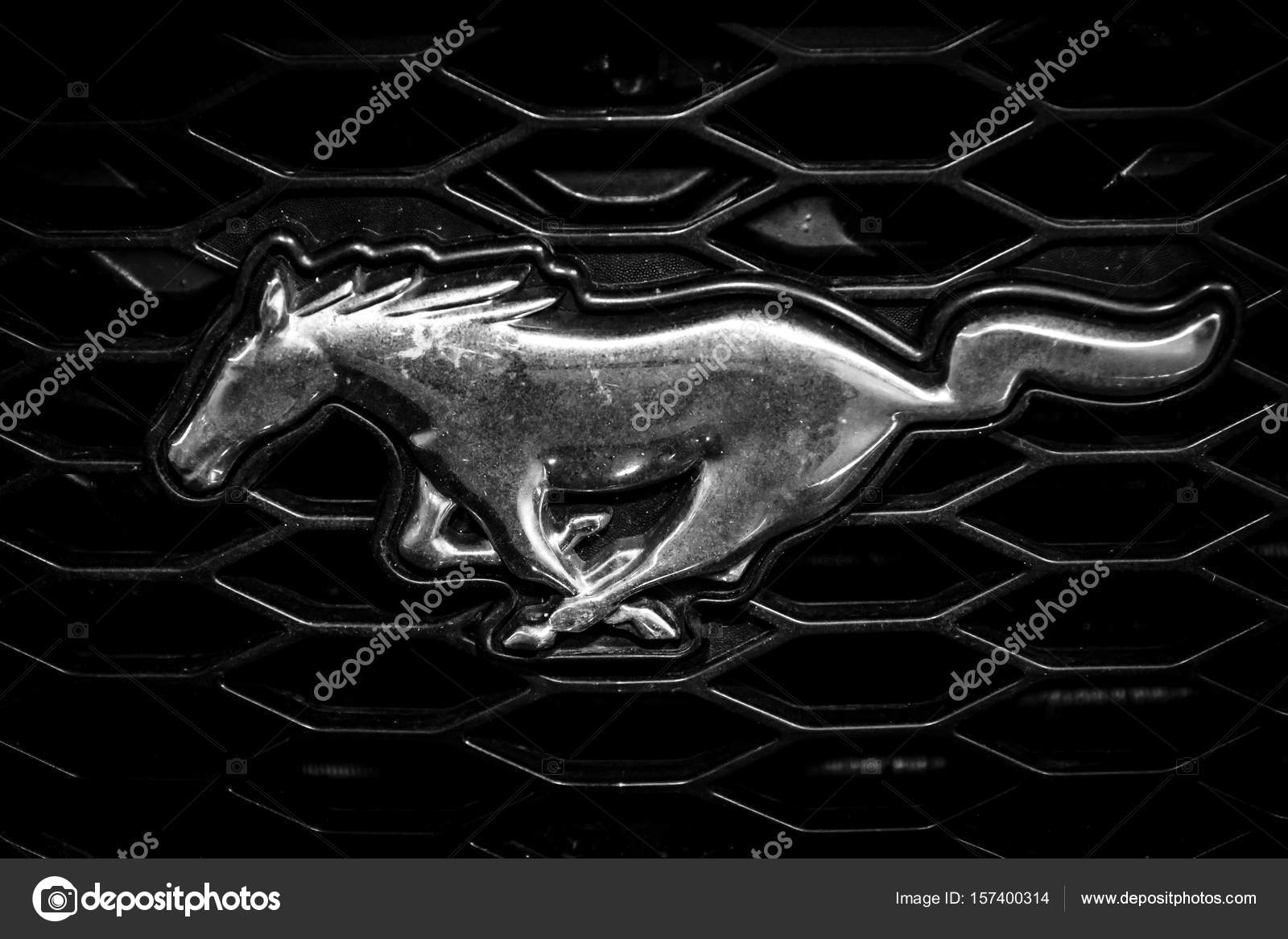 Symbol of ford mustang close up stock editorial photo skohl stuttgart germany march 04 2017 symbol of ford mustang close up black and white europes greatest classic car exhibition retro classics photo by biocorpaavc Gallery