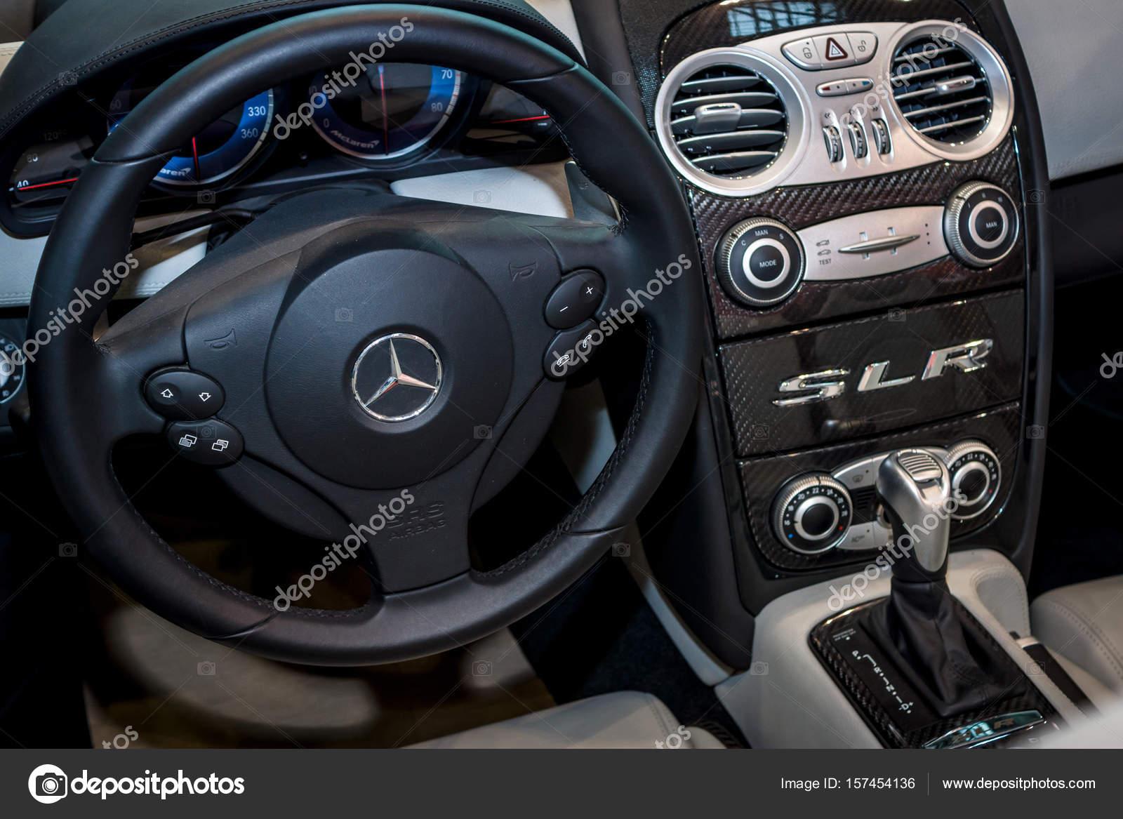 interior of the mercedes-benz slr mclaren. – stock editorial photo