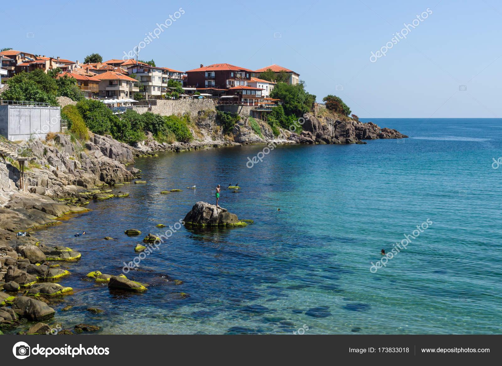 家、建物、ソゾポルの古代の海辺...