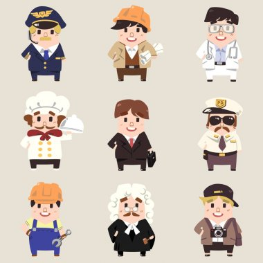 Vector professions collection in cute flat cartoon style. Part 1