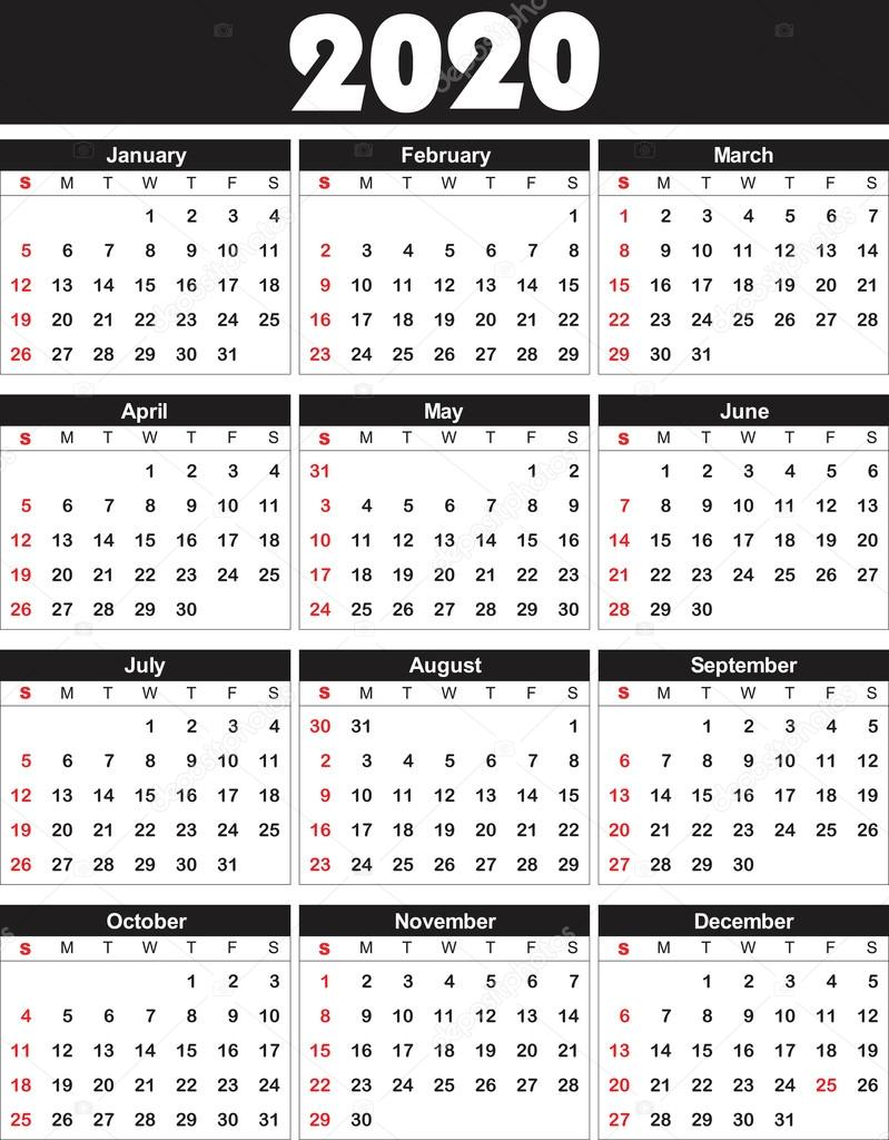 Calendario 2020 2020.Calender 2020 In Vector Can Be Converted Into Any Size For