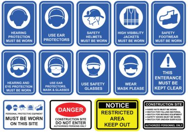 Blue mandatory set of safety equipment signs in white pictogram on blue background.  Wear personal protective equipment , rules and regulations on construction site signage. stock vector