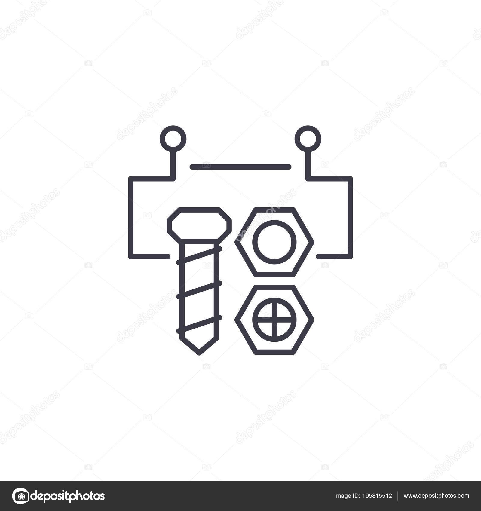 Circuito Lineal : Concepto de icono lineales de circuito de bloque bloque de